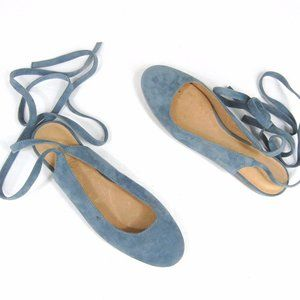 MADEWELL April Ankle Wrap Flats Blue Size 7 Suede